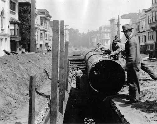 Laying pipes on 6th Avenue & Irving (1926)
