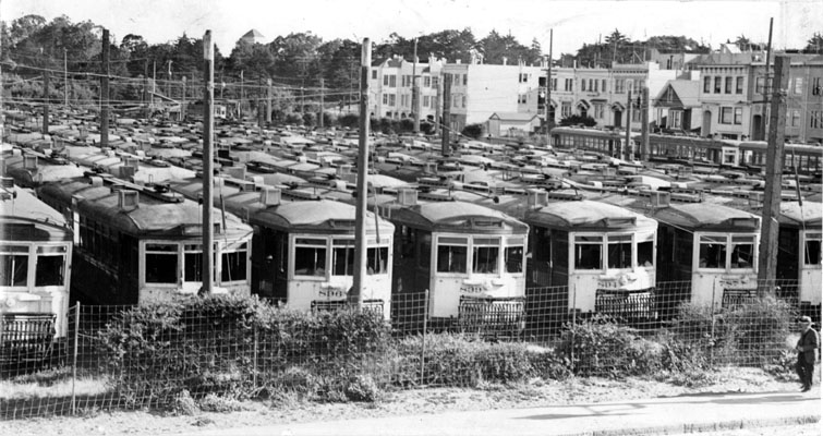 Streetcar graveyard at Lincoln & Funston (1942)